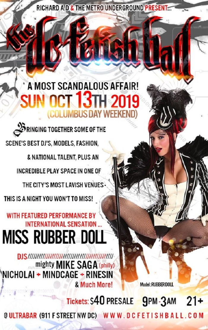 Rubber Doll Will Be Feature Dancing at the DC Fetish Ball in Washington DC on Sunday October 13th, 2019