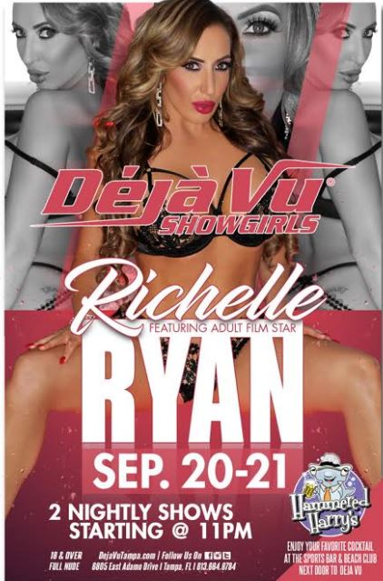 Richelle Ryan Continues #MILFCollegeInvasionTour at Déjà Vu Showgirls Tampa this Weekend